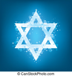 Sparkling vector Star of David in white on a blue background