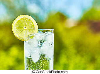 Sparkling water and lemon slice on glass with an ice, sunny ...