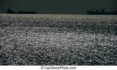Sparkling water surface and Vessel