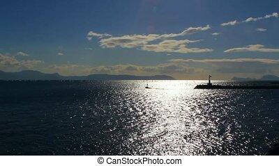 Sparkling water surface ,horizon