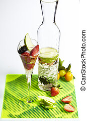 Sparkling water with sliced fruit