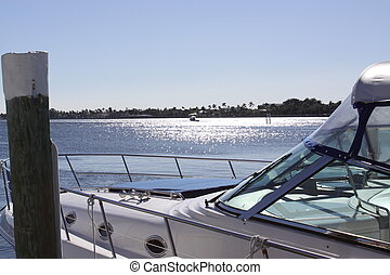 Sparkling Waters - A cabin cruiser framed sparkling water