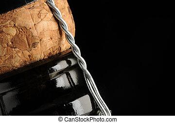 sparkling wine bottle, close up