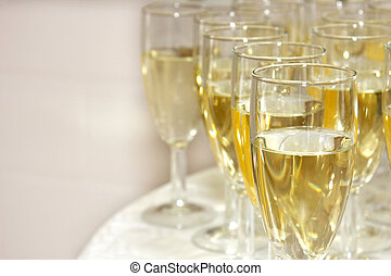 Sparkling wine - Closeup of glasses filled with sparkling...