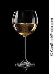 Sparkling wine - Glass of sparkling wine on black background
