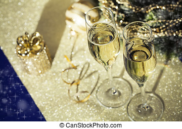 Sparkling wine - Holiday setup with sparkling wine in flute...