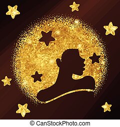 Elegant gold and bronze design with silhouette of a black woman with natural hair. Graphics are grouped and in several layers for easy editing. The file can be scaled to any size.