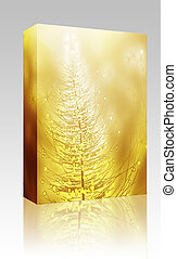 Sparkly christmas tree illustration box package