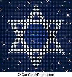 Sparkly star of David - A field of flashing lights forms a...