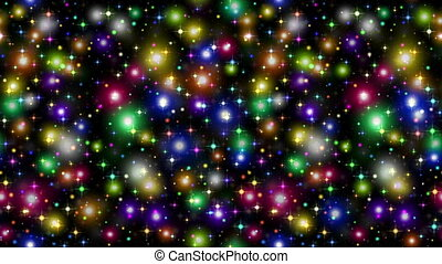 Fullhd 1920x1080 Progressive Seamlessly Looping Video of Shining Colorful Sparks and Stars on Black. Abstract Animated Background for Holiday Christmas Design. Alpha Matte Included