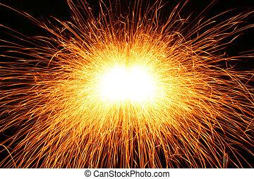 celebration sparks on black background