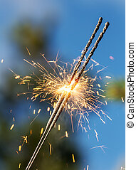 sparks in the foreground
