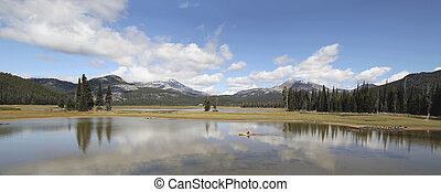 Sparks Lake in Deschutes National Forest Oregon with Three Sisters Mountains and Water Reflection Panorama