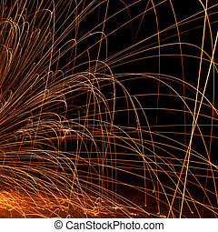 sparks on a black background,