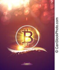 sparks., réseau, lumière fête, symbole, lights., bitcoin, illustration, symbole, cryptocurrency, arrière-plan., bokeh, defocused, fond, pair, résumé, briller
