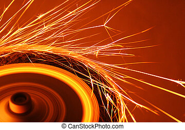 Sparks - An industrial emery being used