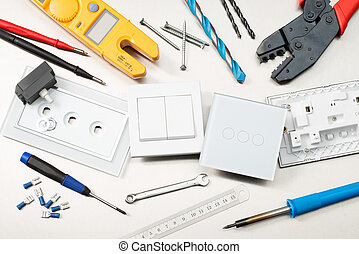 Sparkys tools of the trade - Various electrician tools and ...