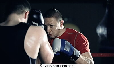 Sparring - Close up of boxer kicking his opponent standing...