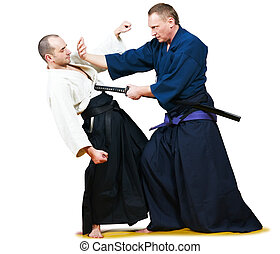 Sparring of two jujitsu fighters - Two jujitsu fighters...