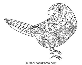 Sparrow coloring book for adults vector illustration. Anti-stress coloring for adult. Zentangle style bird. Black and white lines. Lace pattern