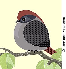 Cute sparrow resting on a tree branch, minimalistic image