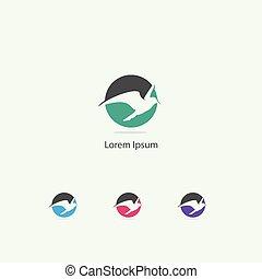 Sparrow, eagle, dove bird logo design. hawk in circle vector icon. love and peace symbol.