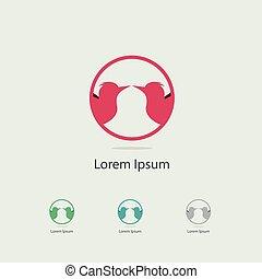 Sparrow, humming bird logo design. birds in circle vector icon. love and peace symbol.