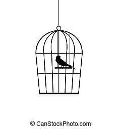 sparrow in a cage black vector silhouette