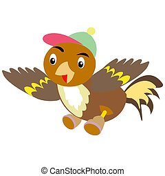 Sparrow in cap and shoe - Drawing cartoon sparrow in cap and...