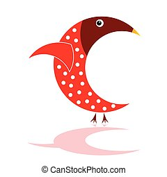 sparrow in red color vector illustration