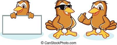 Sparrow Mascot Vector happy