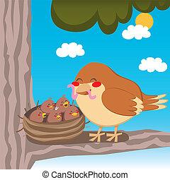 Sparrow Mom - Sweet house sparrow mom feeding her little...
