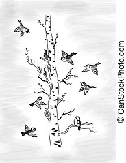 Sparrows and birch