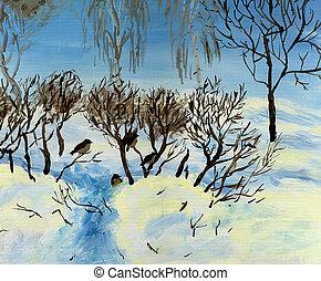 Sparrows sitting in bush in winter