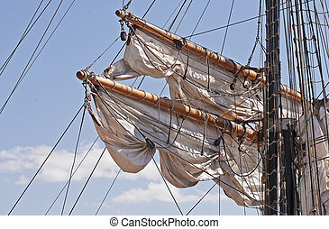 Spars with rigging of a windjammer - Spars with rigging and...