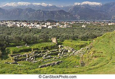 Ancient and modern Sparta historical city in Greece. Mothercity of King Leonidas of the 300 soldiers fought at Thermopylae against the Persians