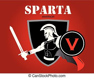 sparta warrior holds sword and shield