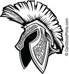 spartan, トロイ人, ヘルメット, マスコット, ベクトル