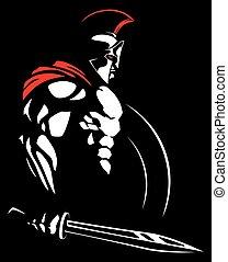 Illustration of Spartan warrior.