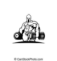 spartan, athlet, starke , hantel
