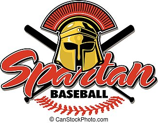 spartan baseball design with helmet and crossed bats