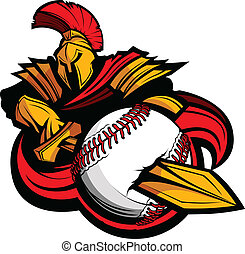Spartan Baseball Mascot Body with Sword and Ball Vector Illustra