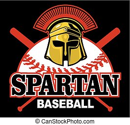 spartan baseball team design with mascot helmet for school, college or league
