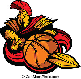 Spartan Basketball Mascot Body with Sword and Ball Vector Illust