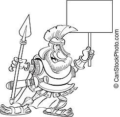 spartan, cartone animato, presa a terra, segno