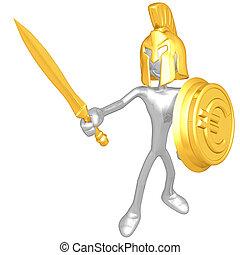 spartan, com, moeda ouro, escudo