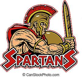 spartan, con el protector, y, espada