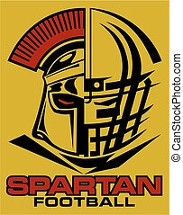 spartan football team design with helmet and facemask for...