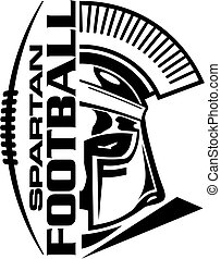 spartan football team design with helmet and laces for ...
