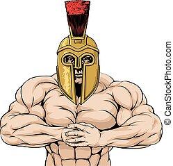 spartan, fuerte, o, trojan, mascota